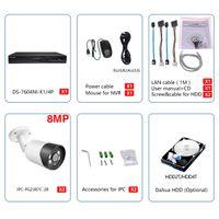 Compatible Kits Alarm systems 2PCS 8MP IP Bullet Camera ColorVu & Hikvision Original DS-7604NI-K1 4P Smart Home 4K CCTV System