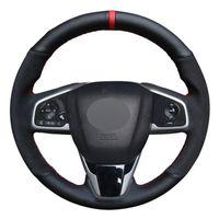 자동차 스티어링 휠 커버 블랙 정품 가죽 스웨이드 Honda Civic Civic 10 2016-2019 CRV CR-V 2017-2019 선명도 2016-2018
