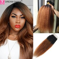 Human Hair Bulks DreamDiana Remy Malaysian Kinky Straight Bundles With Closure T1B 30 Yaki 100%