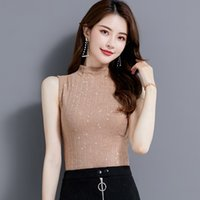 AOSSVIAO Basic Mock Neck Tank Top Women Ribbed Viscose Shiny Lurex Tops Unfinished Layering Shirt Essentials Black White 210412