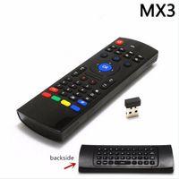 Hintergrundbeleuchtung MX3 Tastatur drahtlose Fernbedienung mit IR lernen QWERTY 2.4G 6AXIS FLY AIR MOUSE GAMPAD für Android TV Box I8