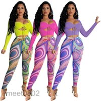 2021 women's new solid color top and mesh printed pants two piece set women's tracksuit