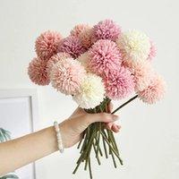 Couronnes de fleurs décoratives 3 / 5pcs Dandelion de soie Boule de fleur Bouquet Faux artificiels pour la maison Jardin Décoration de mariage DIY Couronne Couronne C