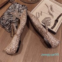 2020 Fashion Classic Woman Flat shoes Calf Leather Goat Skin Crystal Metal Jimmy Flat Shallow mouth Crystal Wedding Shoes 34-40