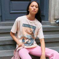 Jastie Bem-vindo a Hollywood Tee Gráfico Vintage Boho Camisas Tops O-pescoço De Manga Curta Verão Mulher T-shirt Casual Praia 210419