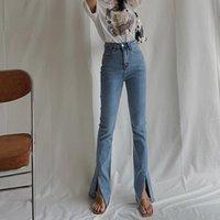 Kadın Kot Split Kadın Yüksek Bel Flare Streç Femme Vaqueros Mujer Skinny Silm Bahar Siyah Mavi Denim Pantolon Jeanssy Damskie