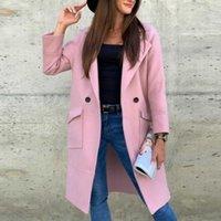 Women's Wool & Blends Muyogrt Woolen Coat Women Winter Long Alpaca Jacket Korean Fashion Pink Coats Vintage Overcoat Slim Fit Outwear