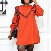 Vestidos casuais mulheres mini vestido solto mangas compridas ruffles outono moda africano fêmea vestidos plus size xxxl elegante trabalho desgaste vestes