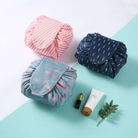 50 adet Tembel Tuvalet Çantası İpli Polyester Makyaj Seyahat Çantaları Flamingo Kozmetik Çantası QSRK