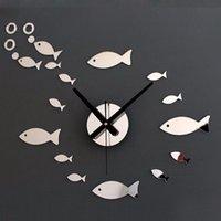 Wall Clocks DIY Creative Modern Art Clock Small Fish Shape Mirror Mural Sticker Acrylic Plexiglass House Moving Home Decor Gift
