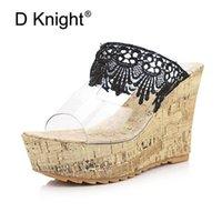 Terlik Dantel Peep Toe Kalın Alt Platformu Kama Sandalet Summe Şeffaf Kristal Yüksek Topuklu Kadın Ayakkabı Boyutu 34-43