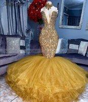 Partykleider Luxus Kristall Gold Meerjungfrau Afrikaner 2k21 Sexy V-Ausschnitt Rüschen Plus Größe Schwarz Mädchen Lange Abschluss Abendkleid