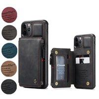 Cas de cuir multifonctionnel casème Caseme pour iPhone 12 Pro Max XR x 8 plus SE Multi-carte Slot Zipper Soft TPU Étui Téléphone imperméable Samsu