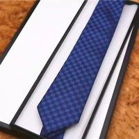 Designer Mens Corbatas 8.0cm Marca Cuello de Seda Corbatas Tit Plaid Rayas Lazos Para Hombres Negocios Formal Fiesta De Boda Gravatas Con Caja
