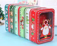 8 Mignon Motif 185 * 132mm Boîtes d'étain de Noël Cadeau Boîte d'emballage Enfants Cooky Biscuits Packagesanta Claus Snowman Design Metal HWD9950