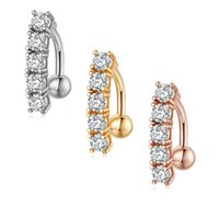316L Stainless Steel Crystal Gold Belly Ring Sexy Piercing Jewelry Cubic Zircon Bell Button Rings