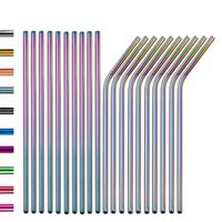 6 * 215mm Renkli 304 Paslanmaz Çelik Içme Saman Eko-Dostu Kullanımlık Metal Bükülasyon Çilip Seti Parti Favor Bar Aksesuar