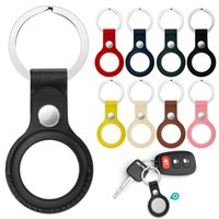 Airtag Case Key Ring PU Cuero anti perdido Cubierta de teléfono celular para Apple Ubicación rastreador con hebilla