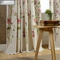 Curtains Modern Rural American Style Country Cotton Linen Em...
