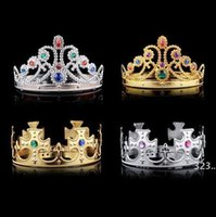 4 styles Christmas girl boy Cosplay King and Queen hairbands with crystals gold silver kids Christmas Cosplay Crown Hair Accessory GWF10937