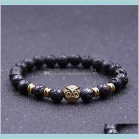 Natural Lava Stone Gold Silver Plated Owl Reiki Chakra Healing Balance Beads For Men Women Gift Yoga Jewelry Usx9C Ta8Er