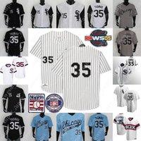 35 Frank Thomas Jersey 2005 Hall of Fame Patch 1993 Back Branco Cinza Azul Baseball Camisas