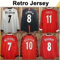 92 98 긴 소매 keane giggs cantona mens 축구 유니폼 99 레트로 베컴 솔스 kjaer Keane Ferdinand Rooney Scholes 축구 셔츠