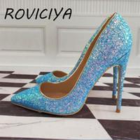 Mavi Glitter Parlak Ayakkabı Kadın Sivri Burun Yüksek Topuk Stilettos 12 cm Kadınlar LF003 Roviciya Elbise Pompalar