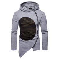 Sweats à capuche Homme Sweatshirts Design Style Britannique Patchwork Camouflage Men Diagonal Zipper Sweat-shirt Mode LRREGULAIRE Vêtements à capuchon