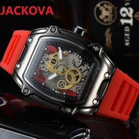 Montre de Luxe Mens Sports Wristwatch 43mm Quartz Movement Male Time Clock Watch Rubber Band silicone belt skeleton Resistant Electronic Wristwatches Gift