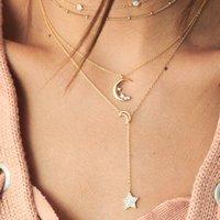 Старинные хрустальные луна звезды кулон ожерелье для женщин с бисером многослойных золотых цветных ожерелья чешуйская вечеринка свадебные украшения 96 м2