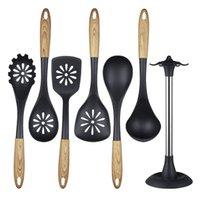 Utensilios de cocina 6 piezas Conjunto Utensilios de cocina Cuchara Spoon Shovel Shovel Manija de grano Herramienta Cocinero Cocinero Espátula En stock