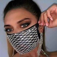 Мода роскошные ювелирные изделия Bling горный хрусталь партийные маски Хэллоуин для женщин эластичный факс кристаллическая декоративная маска танцор