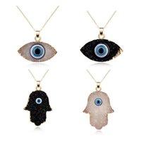 Collares colgantes Fashion Charm Luck Turquía azul malvado ojo druzy piedra gargantilla collar para mujer joyería
