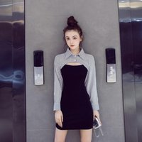 Casual Dresses Early Autumn Lattice Hollow Slim Fit Hip Dress Striped Zippers Knee-Length Turn-down Collar