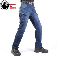 Jeans Men Cargo Cintura Elástica Jean Pantalones Pantalones de alta calidad Limpieza Táctica Denim Multi Pocket Male Pantalón Jeans de carga Hombres 210518