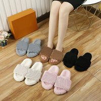 High quality womens wool slippers sandals luxury designer fashion brand spring and autumn winter flat bottom letters outdoor indoor open toe insulation size 35-41