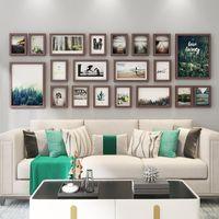 Wood Po Frame Set Hanging Wall Modern Elegant Gallery Display Design Living Room Ornament Marco Fotos Home Decor DF50X Frames