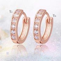 Hoop & Huggie Classic Luxury Round Earrings 3 Styles White Zircon For Women Color Female Jewelry Gifts Drop