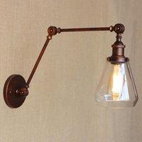 Vägglampa Amerikansk stil Loft Industriell LED Retro Iron Glass Lights för Home Lighting Fixtures Arandelas Para Parede