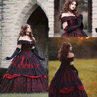 2021 Vintage Black Lace Red Wedding Gowns Plus Size Off Shoulder Tiers Appliques Corset Bodice A Line Brides Dress Gothic Country Vestidos De Novia Princess AL9054
