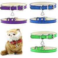 Dog Collars & Leashes Pet Cat Collar Bling Love Heart Crystal Pendants Necklace Safety Soft Leather Kitten Puppy Neck Strap Jewelry Accessor