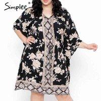 Simplee Boho Floral Print Plus Size Kleid Frauen Sommer Langarm V-ausschnitt Kurze Kleid Kimono Feiertag Casual Lose Strand Vestidos 210413