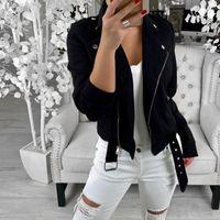 Women's Jackets Fashion Outerwear Coats Women Long Sleeve Zipper Jacket Turn-down Soft Autumn Short Basic Casual
