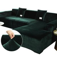 Chair Covers 12 Colors Plush Sofa Cover Velvet Elastic Corner Sectional For Living Room L Shape Seat Furniture Couch Slipcovers