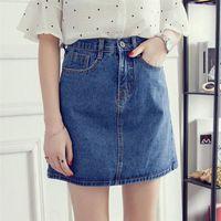 Skirts 2021 Women Denim Mini Skirt Fashion Summer High Waist Korean Black Blue Package Hip Jeans Harajuku Plus Size Cotton
