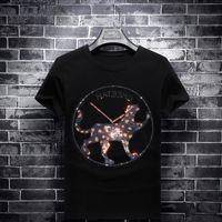 Rhinestones Cheetah Slim Men T Shirts Fashion Short Sleeve Clothing Streetwear O Neck Modal Cotton Tshirts Camisetas Hombre