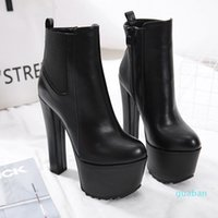 16cm ultra high heels motocycle boots black PU leather thick platform chunky heels size 34 to 40