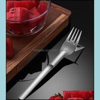 Vegetable Kitchen, Dining Bar Home & Gardenvegetable Tools Mtifunction 2 In 1 Stainless Steel Fruit Fork Watermelon Slicer Cutter Tableware
