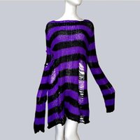 Плюс размер панк готические длинные женщины свитер унисекс платье классное прохладное вылое отверстие сломано акриловая джемпер свободный рок тонкий след